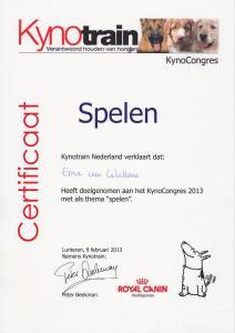 Kynocongres 2013, spelen, certificaat deelname